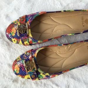 Mult-coloured Snake Ballet Flats